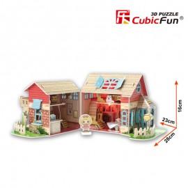 Cubicfun Casuta de poveste pentru papusi - Puzzle 3D - 84 de piese