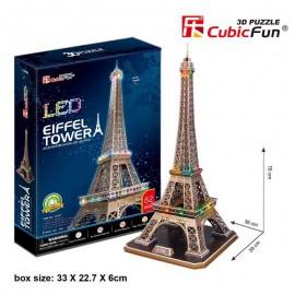 Cubicfun Turnul Eiffel Paris Franta cu LED - Puzzle 3D - 82 de piese