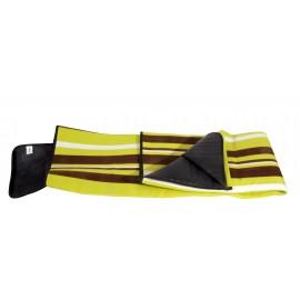 Patura fleece picnic 150×135cm verde cu dungi maro